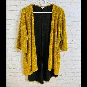 LuLaRoe Yellow Gold Rose Lindsay Kimono Sz Small